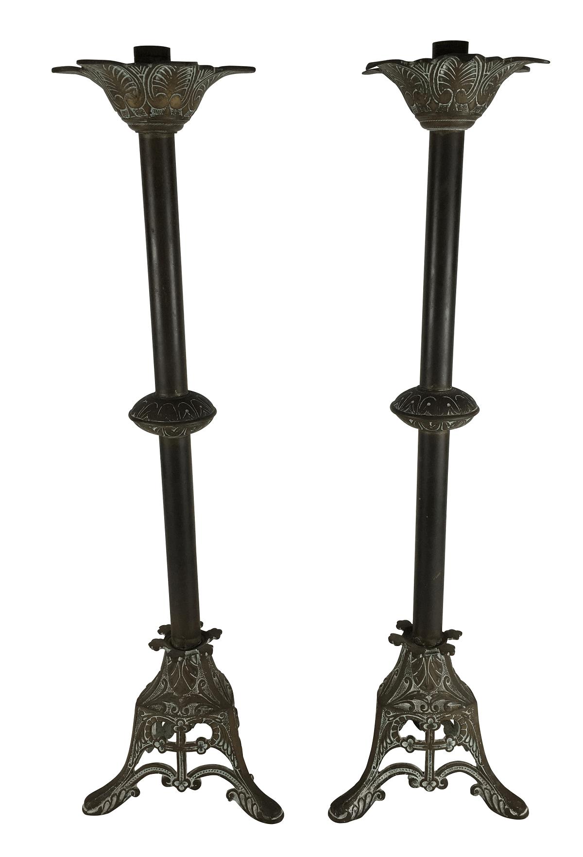 Antigo Par De Castiçal Tocheiro De Igreja Em Bronze