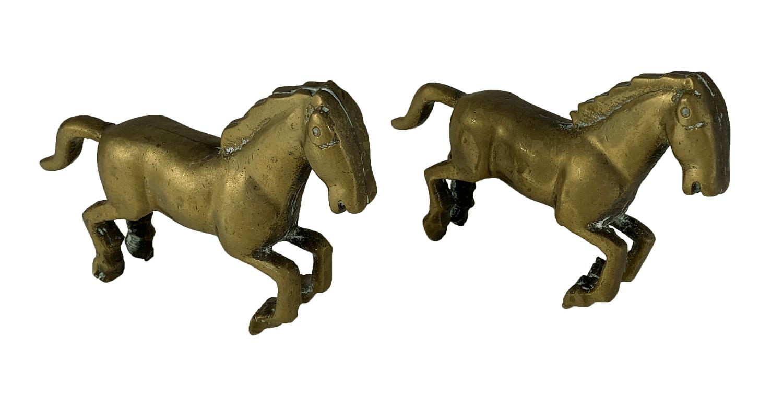 Antigo Par De Escultura Cavalo Em Bronze