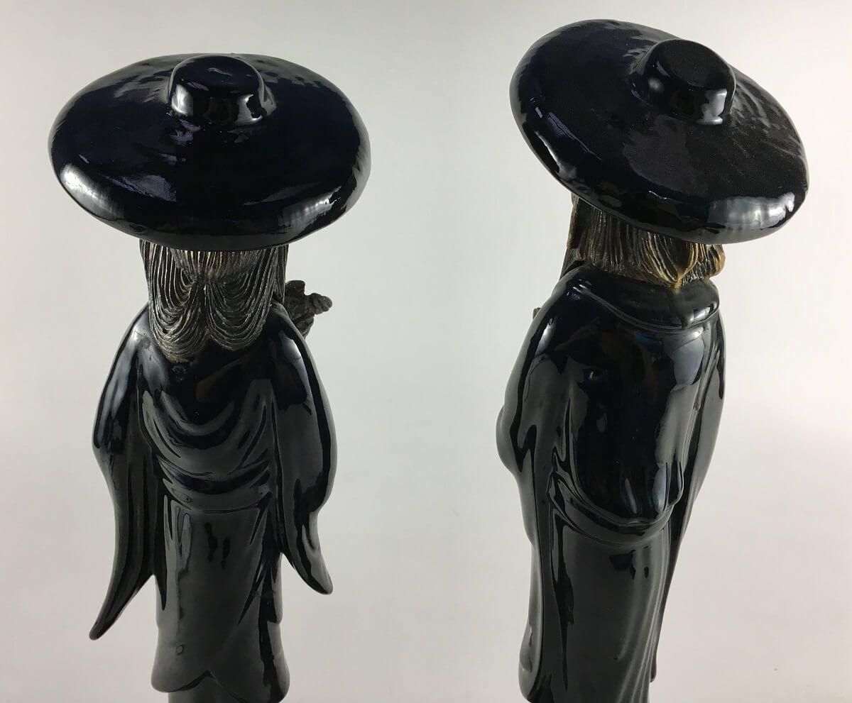 Antigo Par De Escultura Chinesa Porcelana E Metal
