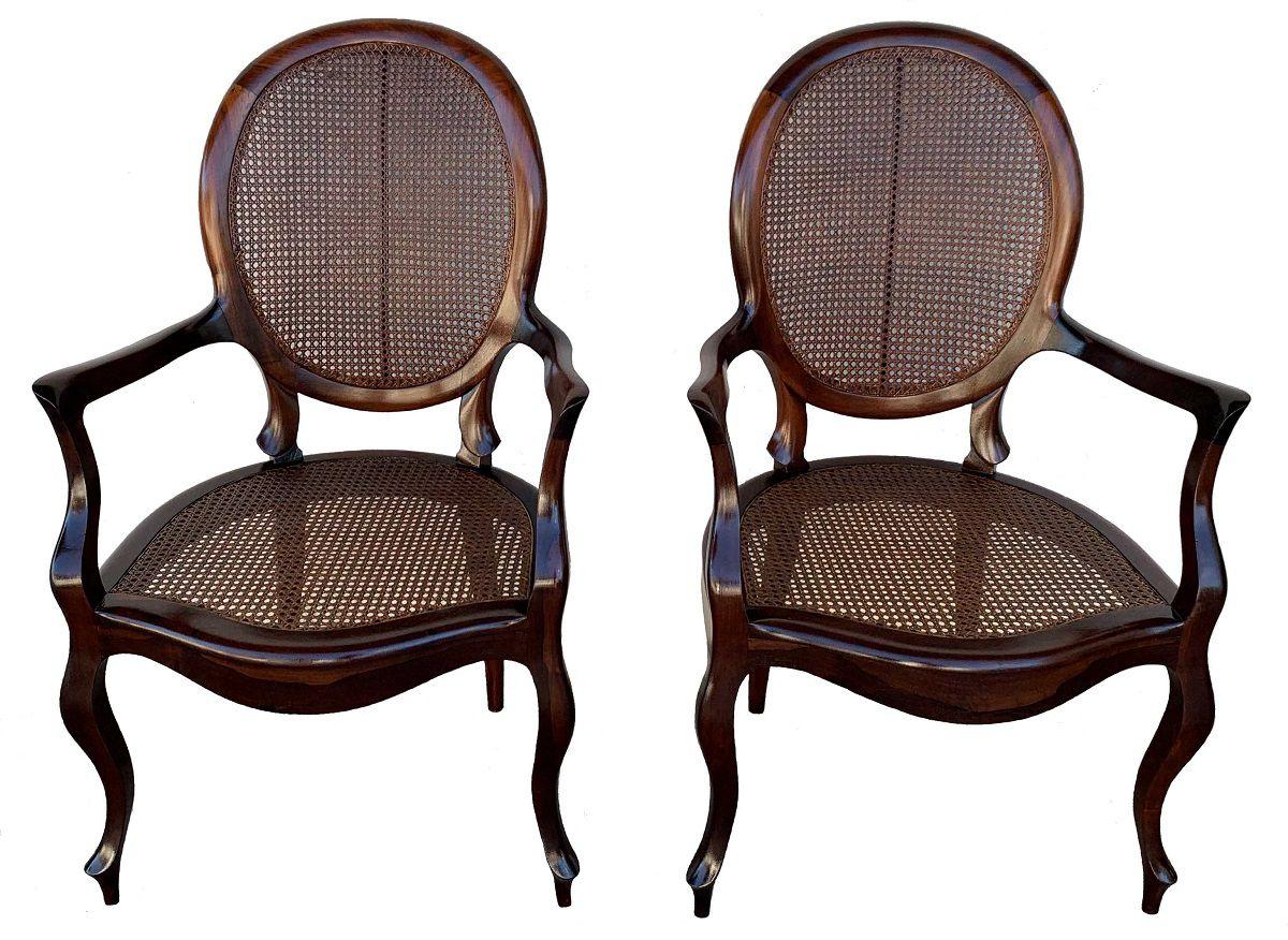 Antigo Par De Poltrona Cadeira Medalhao Com Braço Jacaranda E Palhinha