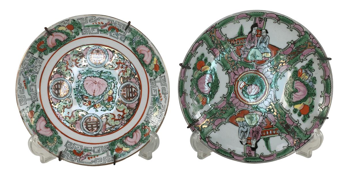 Antigo Par De Pratos Em Porcelana Oriental Mandarim