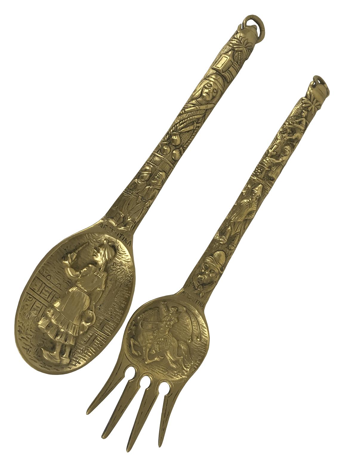 Antigo Par De Talher Decorativo Bronze Maciço Belissimo