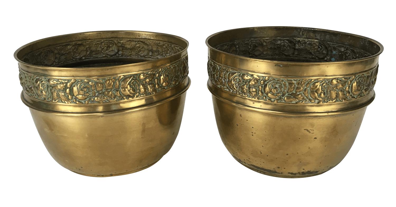 Antigo Par De Vaso Cachepot Latao Dourado
