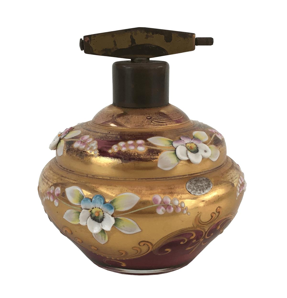 Antigo Perfumeiro Cristal Veneziano Flores Alto Relevo