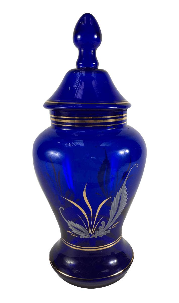Antigo Potiche Azul Pintura Ouro