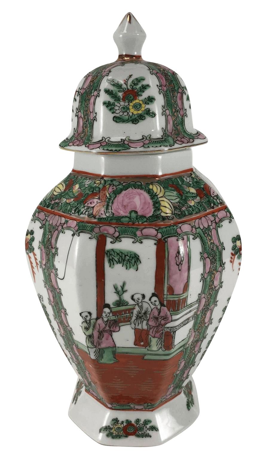 Antigo Potiche Porcelana Chinesa Mandarim