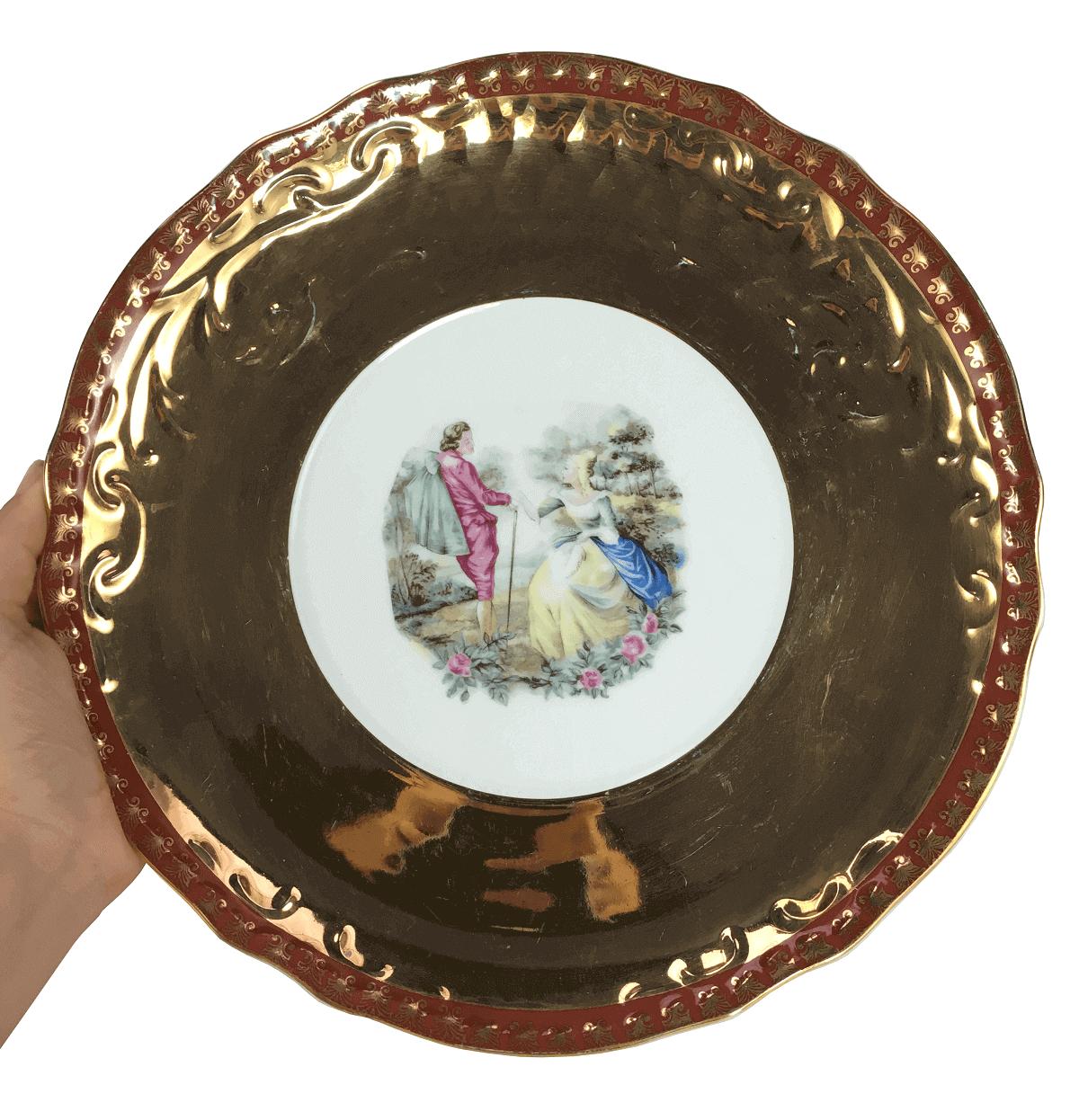 Antigo Prato De Bolo Grande Porcelana Ouro Cena Galante