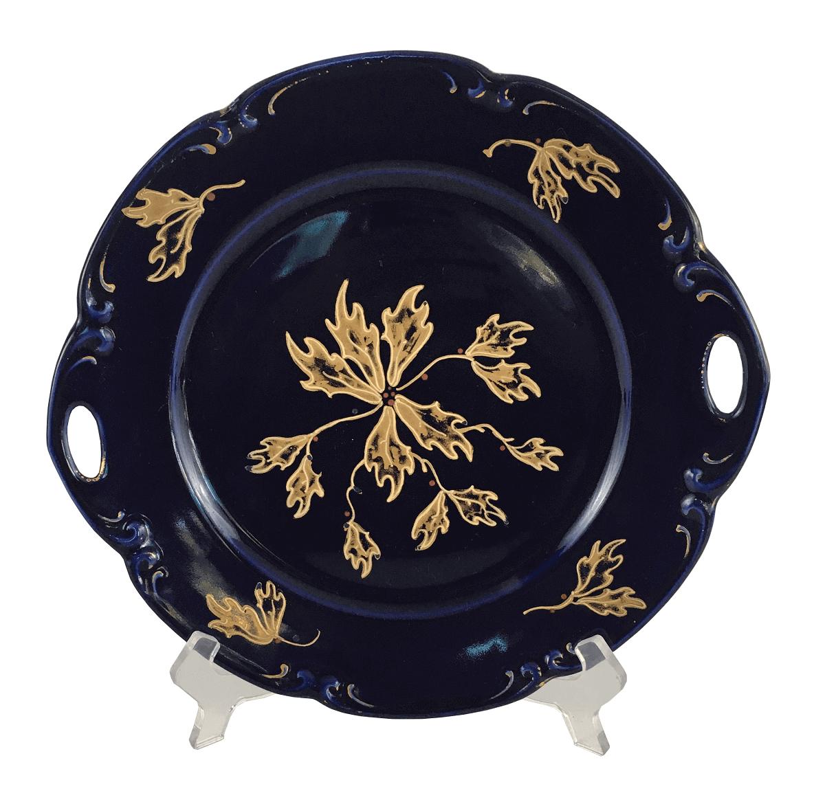 Antigo Prato De Bolo Porcelana Alema Azul Detalhes Ouro
