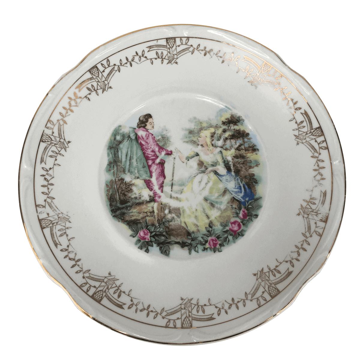 Antigo Prato De Bolo Porcelana Steatita Cena Galante
