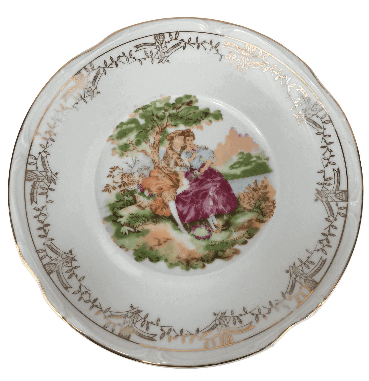 Antigo Prato Em Porcelana Steatita 27cm Cena Galante