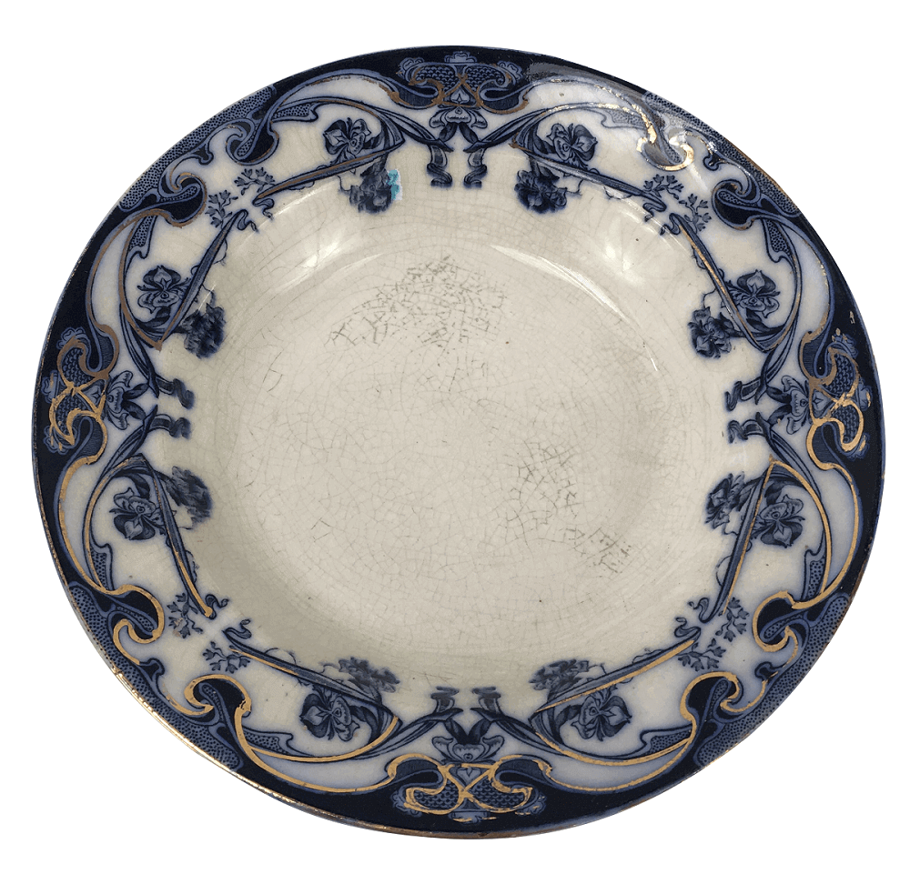 Antigo Prato Fundo Porcelana Inglesa Borrao Iris Royal