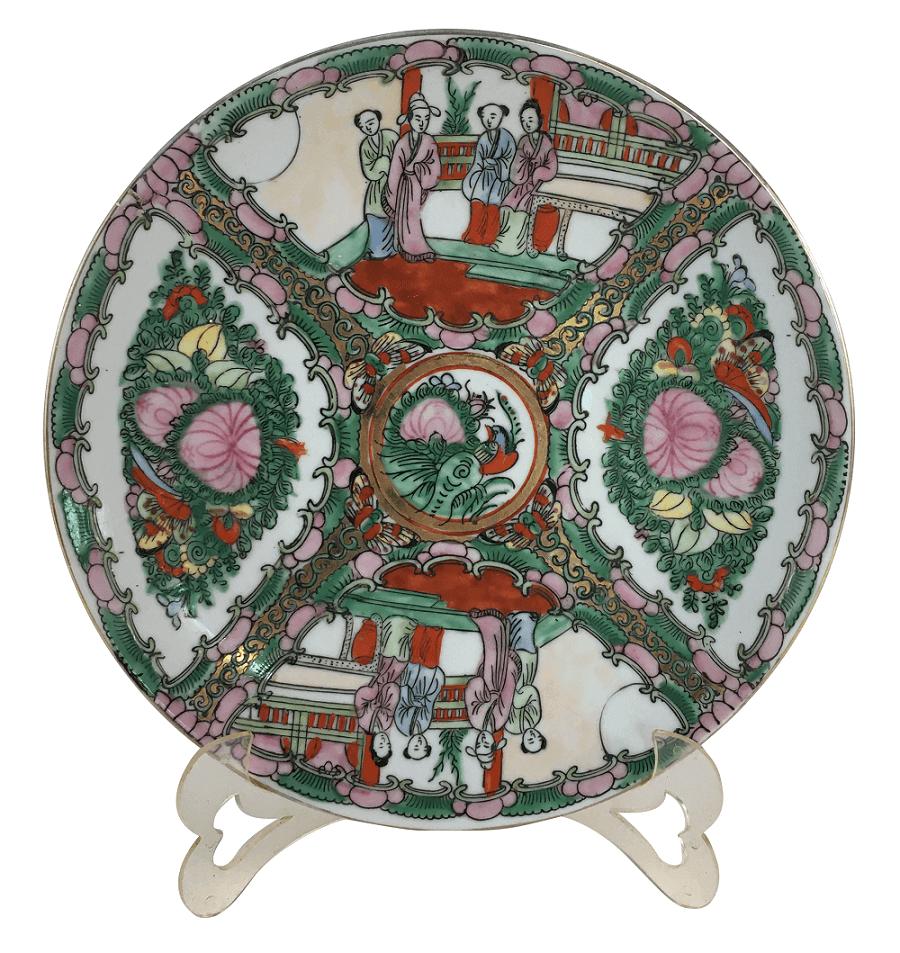 Antigo Prato Porcelana Chinesa Padrao Mandarim