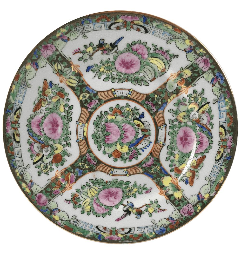 Antigo Prato Porcelana Chinesa Padrao Mandarim 23cm