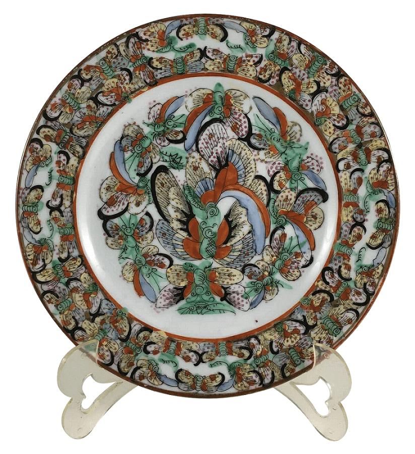 Antigo Prato Raso Porcelana Chinesa Pintado A Mao 21cm