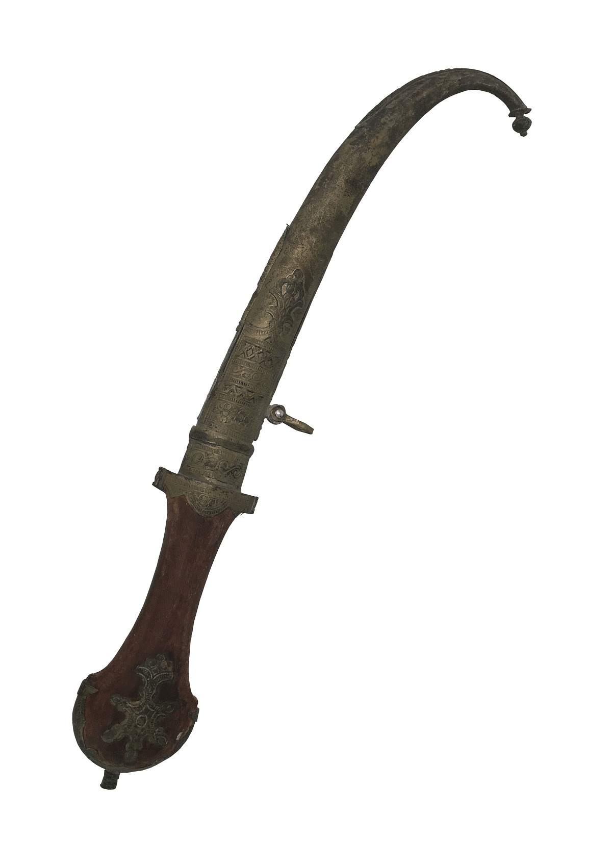 Antigo Punhal Indiano Ou Turco Metal E Madeira 43cm