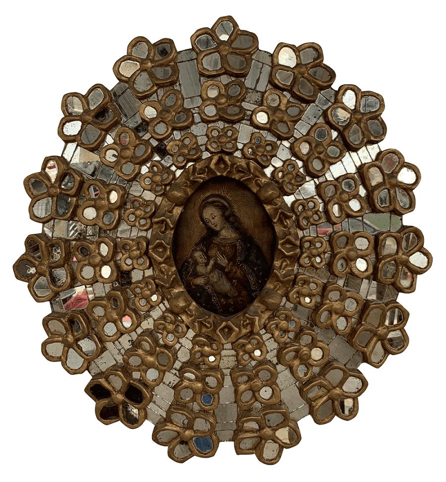 Antigo Quadro Cusquenho Moldura Com Espelhos
