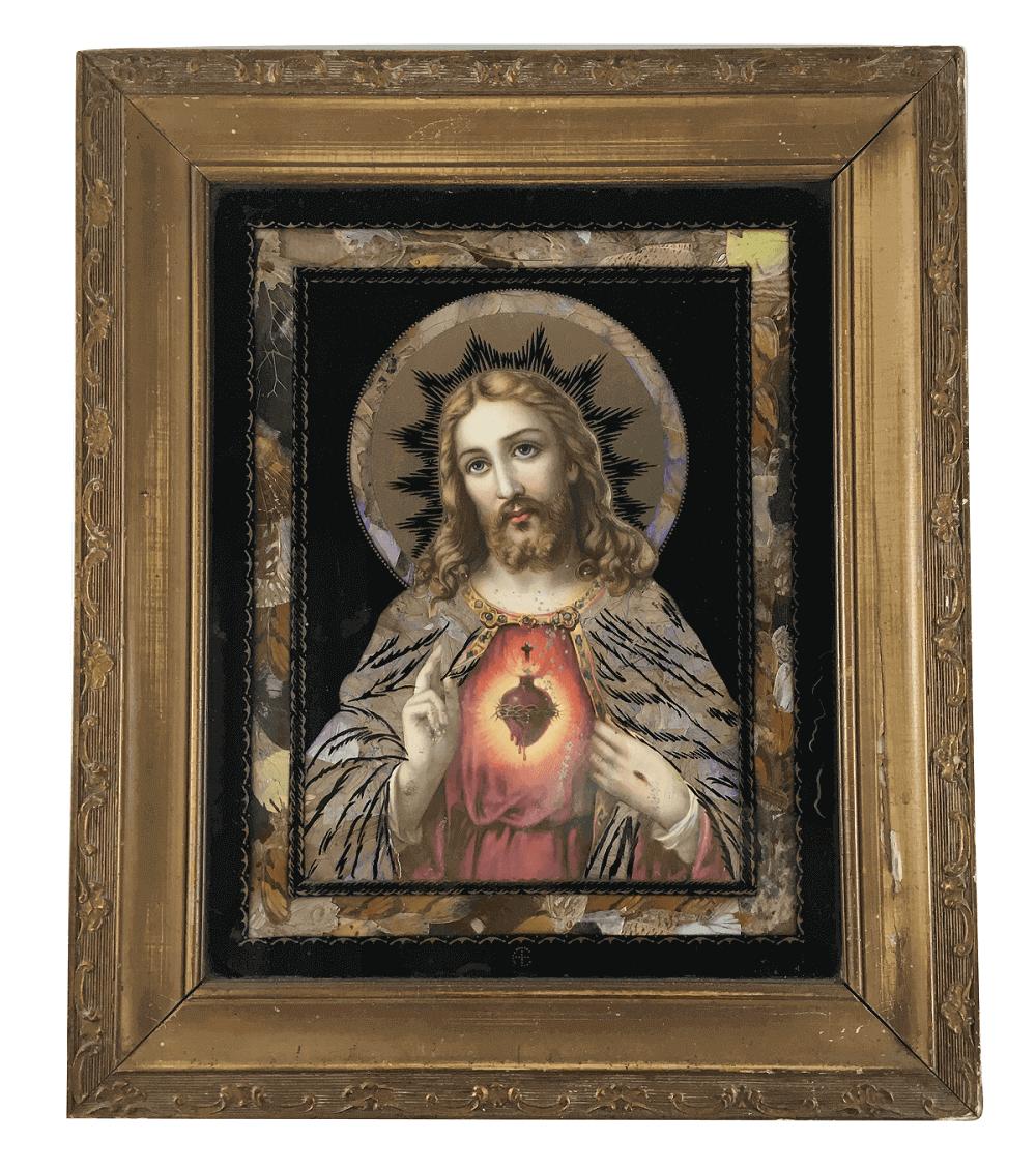 Antigo Quadro Sagrado Coraçao De Jesus Decorado Asas Borboleta