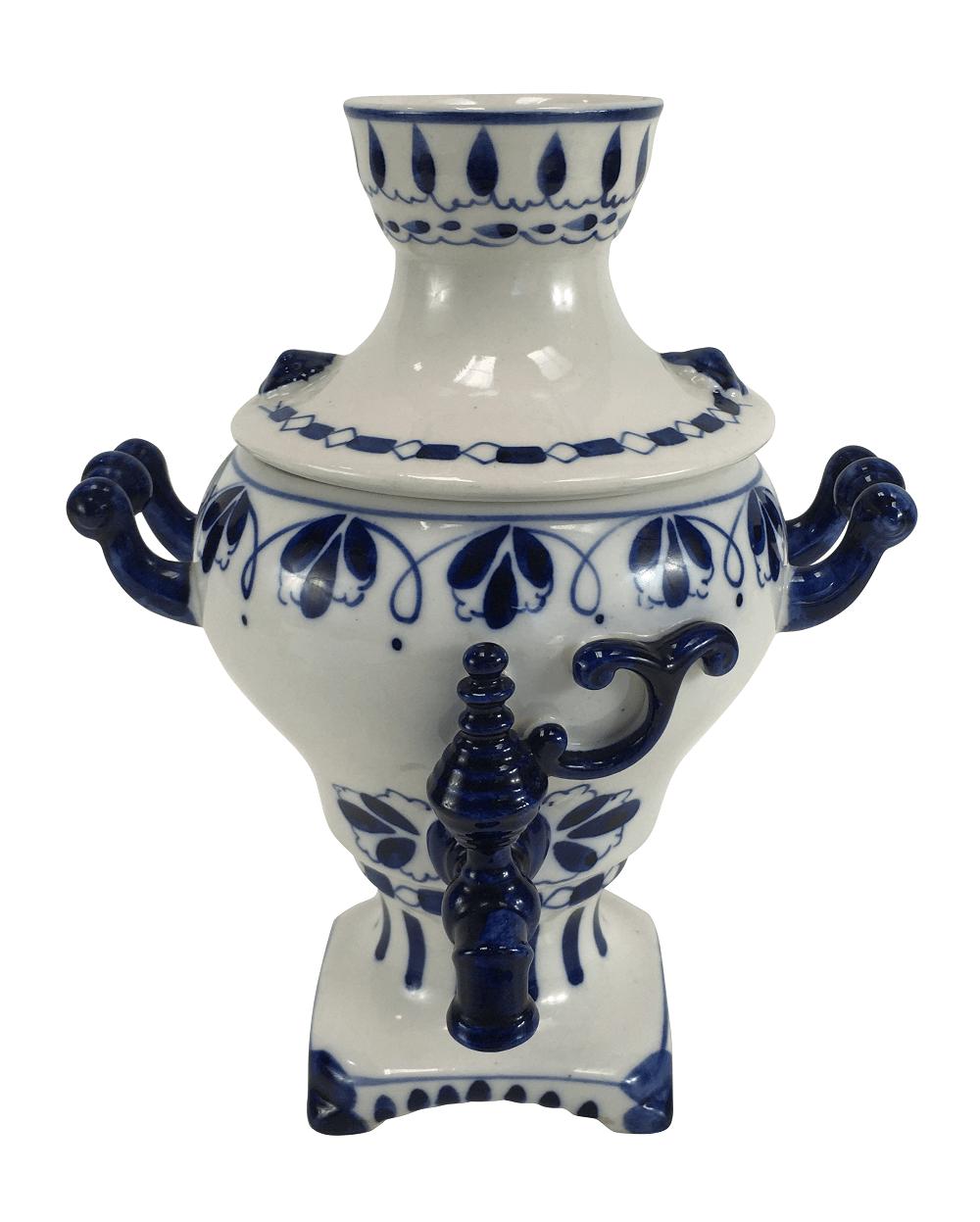 Antigo Samovar Decorativo Em Porcelana Azul E Branco