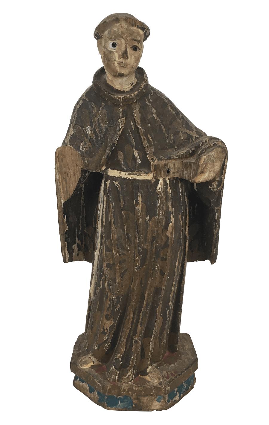 Antigo Santo Antonio Em Madeira Olhos De Vidro