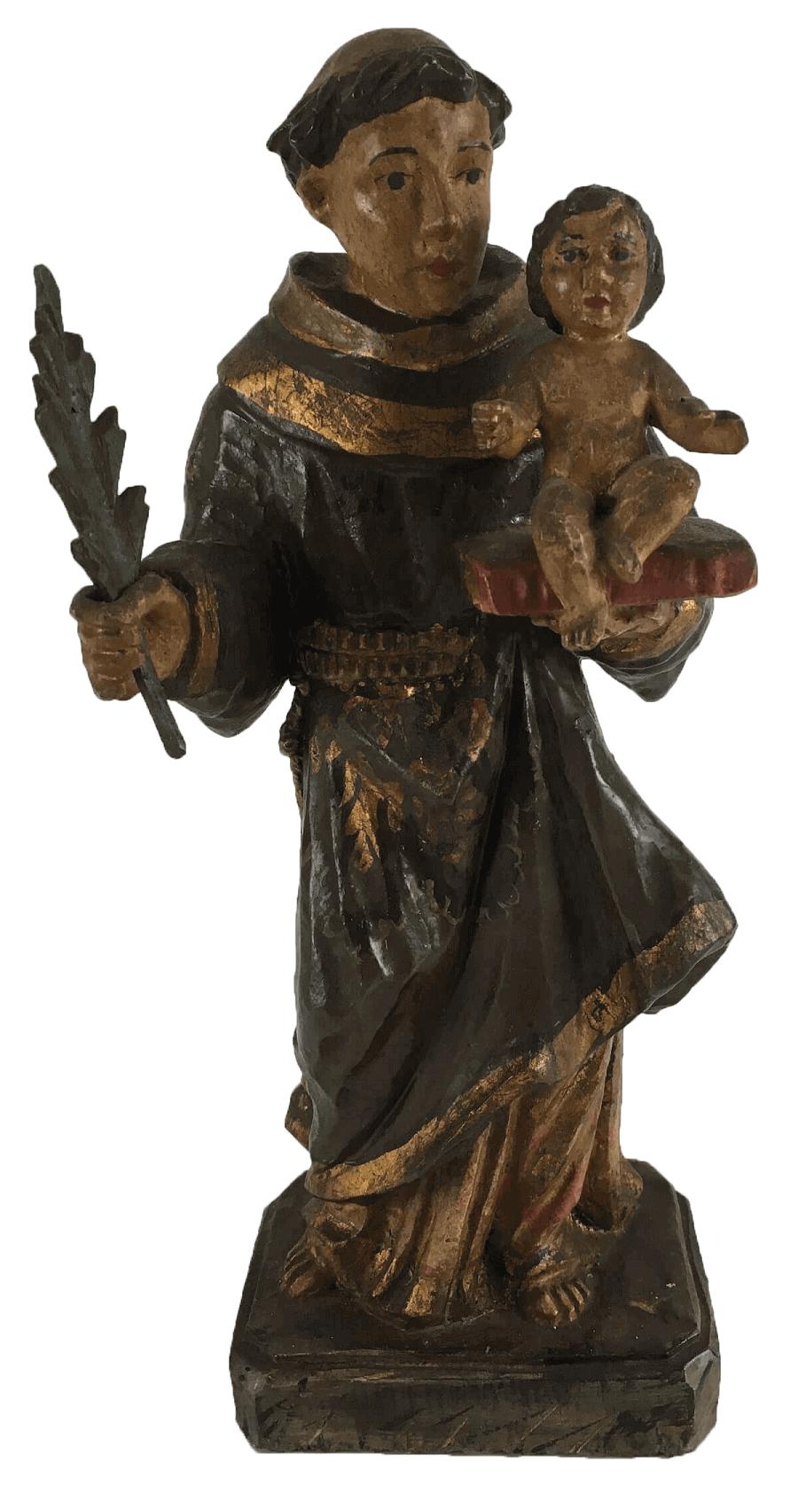 Antigo Santo Antonio Madeira Policromada