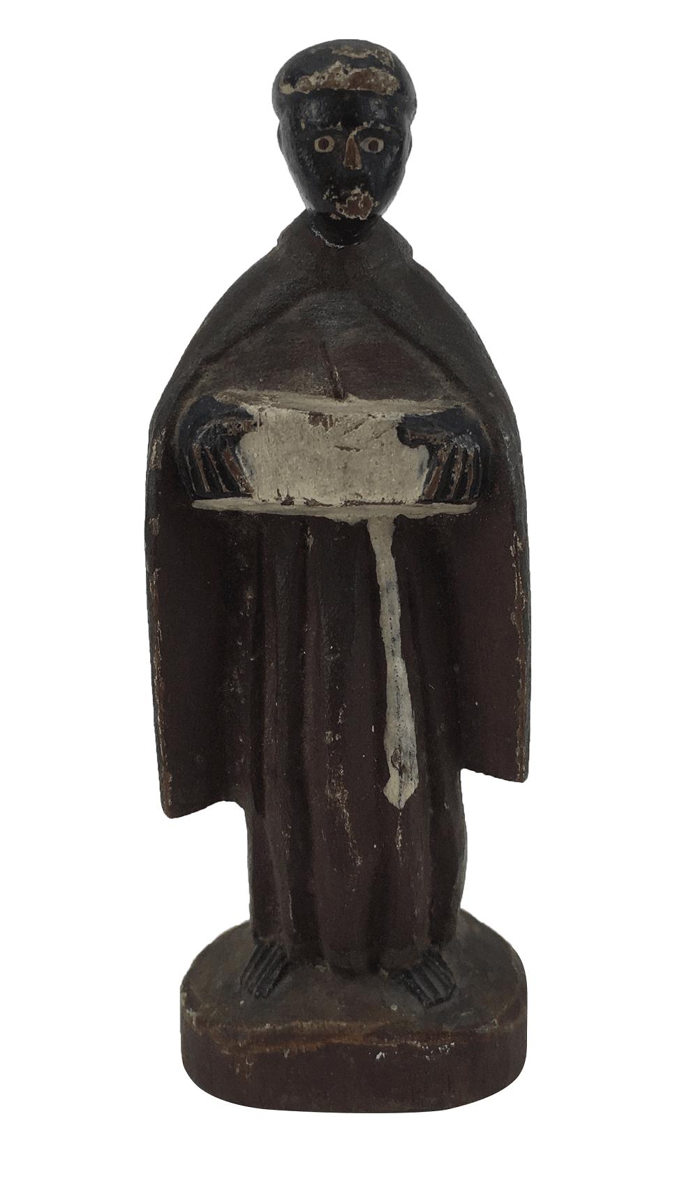 Antigo Santo Sao Benedito Madeira 11cm