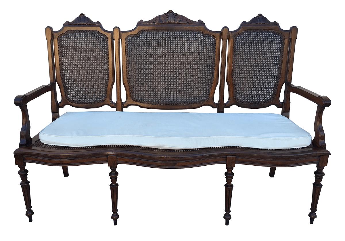 Antigo Sofa Canape Em Jacaranda E Palhinha Estilo Luis Xv