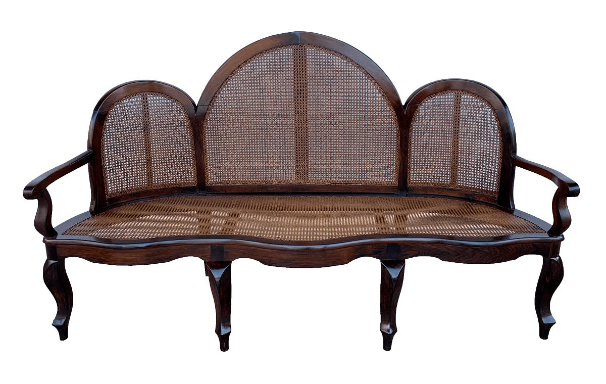 Antigo Sofa Canape Medalhao Jacaranda E Palhinha