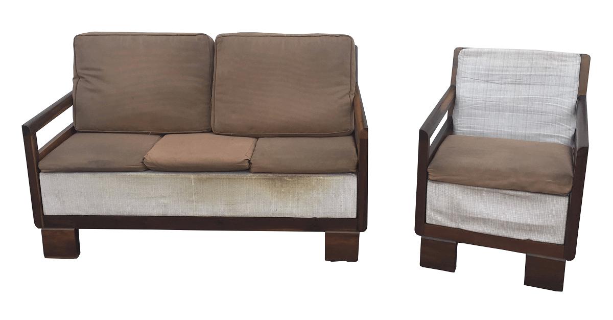 Antigo Sofa E Poltrona Art Deco Design Belissimo