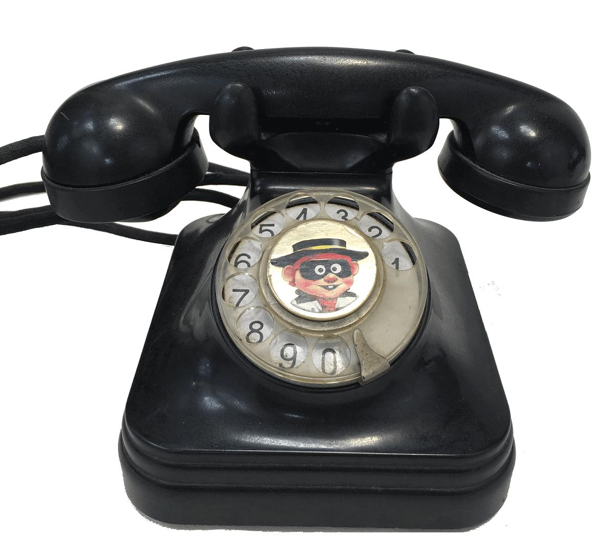 Antigo Telefone Em Baquelite Preto