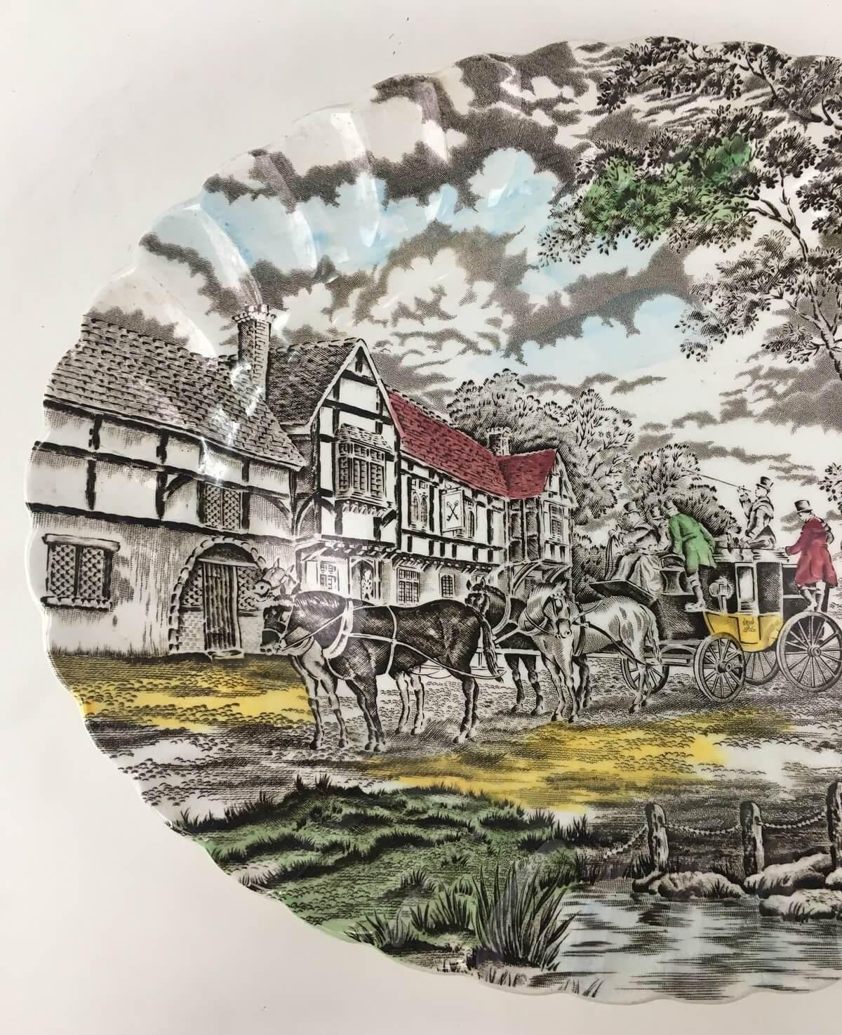 Antiga Travessa Em Porcelana Inglesa Fazendinha Myott