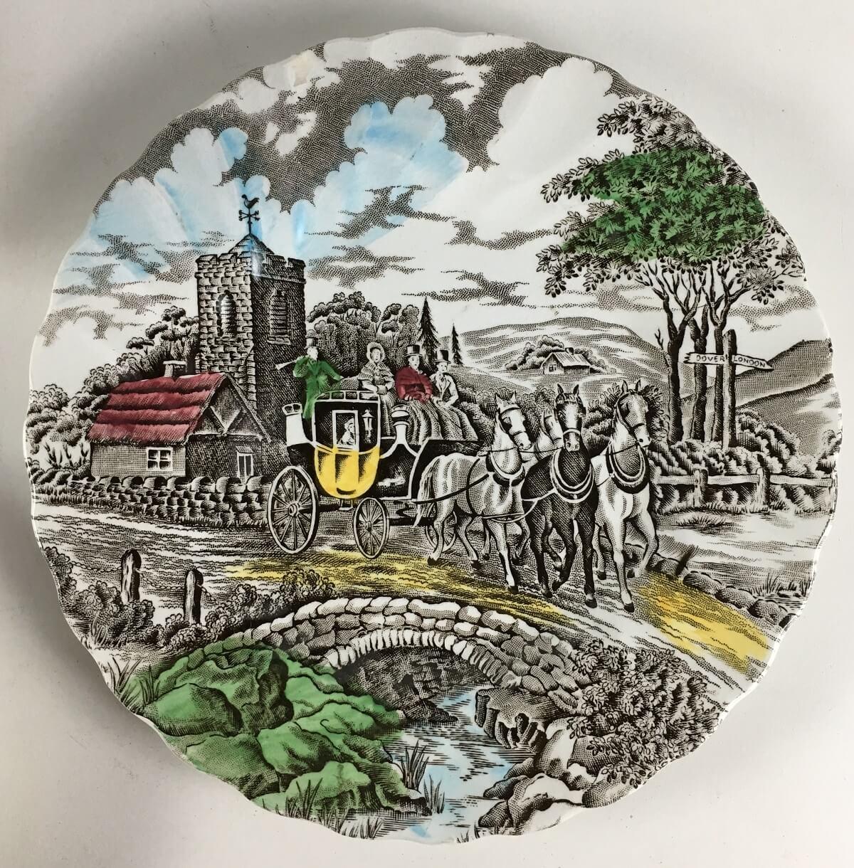Antigo Trio De Cha Porcelana Inglesa Fazendinha Myott
