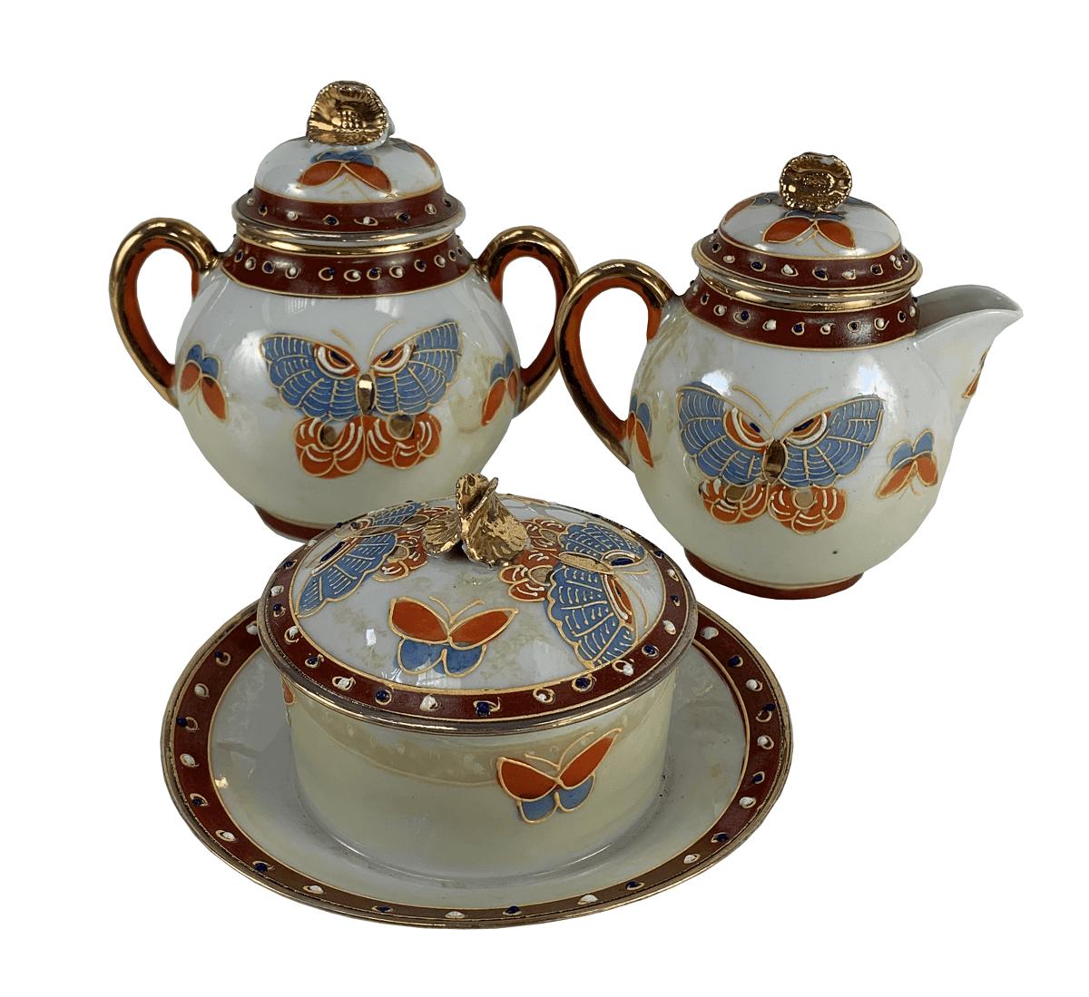 Antigo Trio De Peças Porcelana Japonesa Casca De Ovo Estilo Satsuma