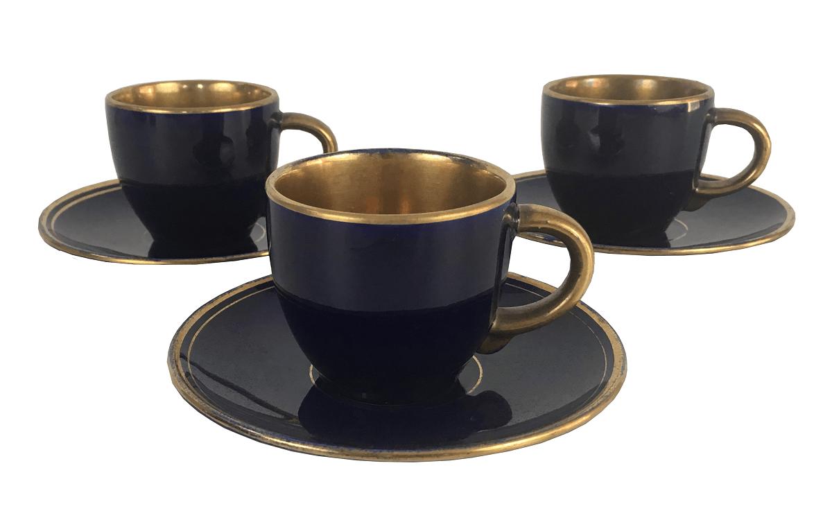 Antigo Trio De Xicaras Porcelana Azul Cobalto E Ouro