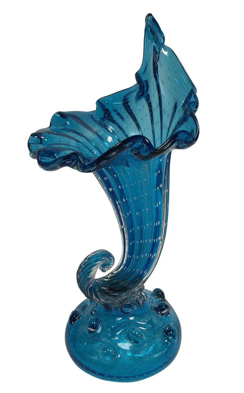 Antigo Vaso Cornucopia De Murano Anos 50 Azul Com Bolhas