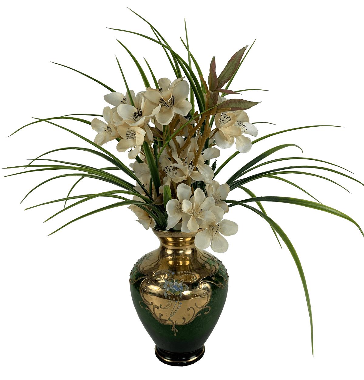 Antigo Vaso Cristal Veneziano Verde E Ouro