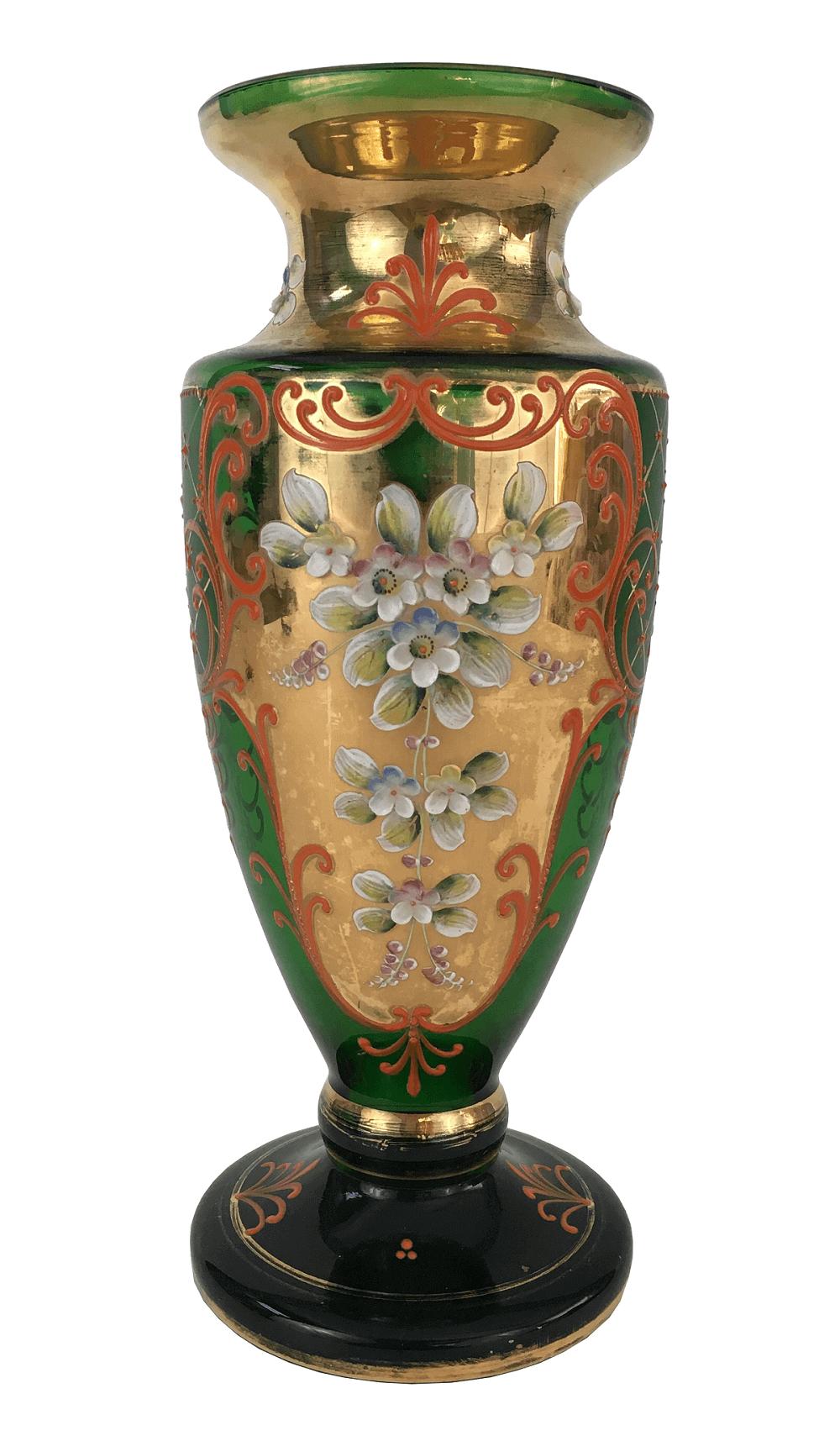 Antigo Vaso Cristal Veneziano Verde Ouro Flores Alto Relevo