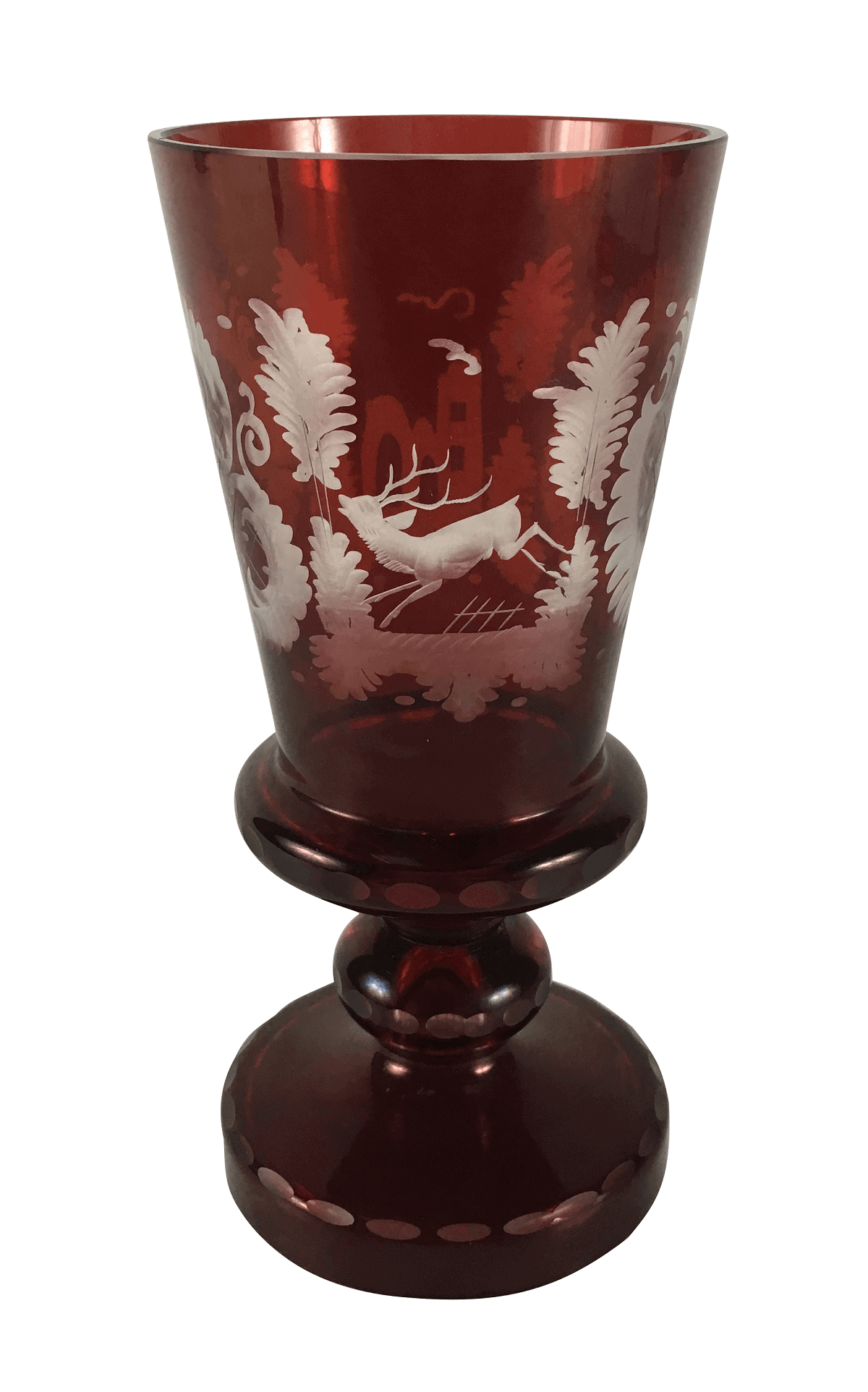 Antigo Vaso Cristal Vinho Bela Lapidação