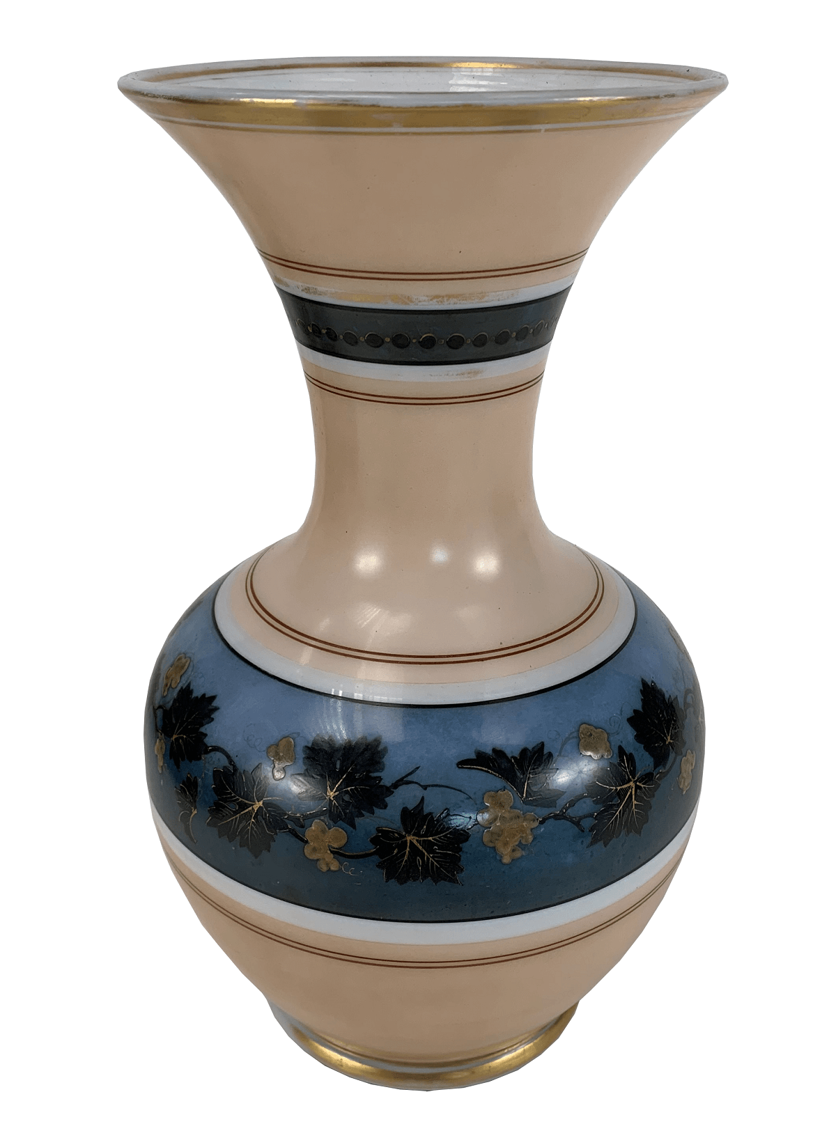 Antigo Vaso Em Opalina Pintado A Mao 30cm
