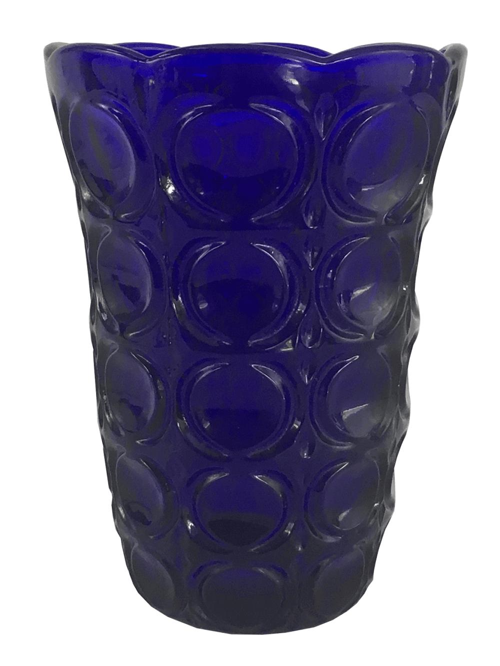 Antigo Vaso Floreira  Vidro Azul Trabalhado