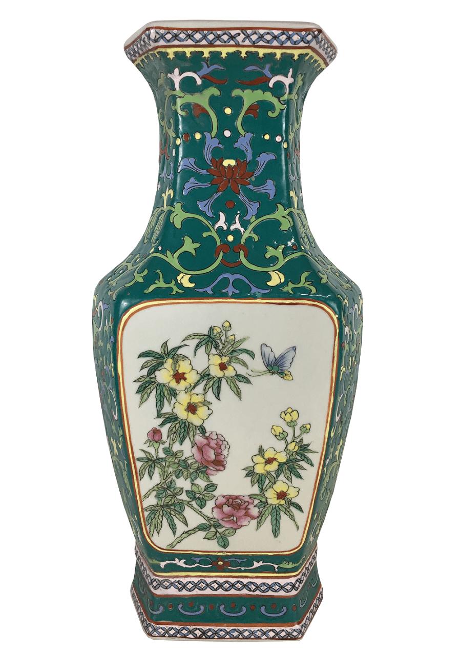 Antigo Vaso Porcelana Chinesa Sextavado Belissimo
