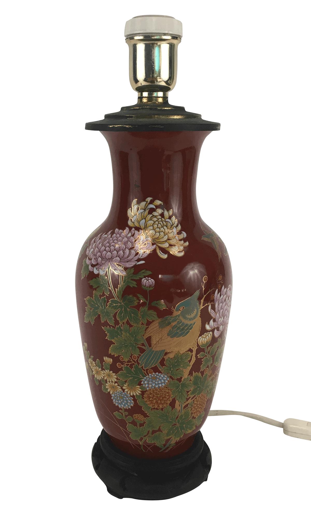 Antigo Vaso Porcelana Rouge De Fer Chines Abajur