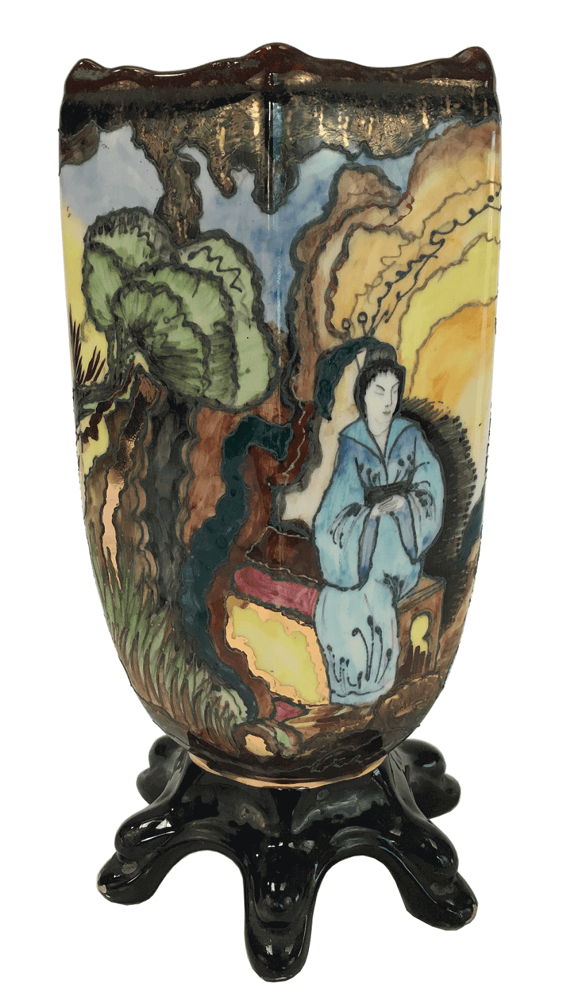 Antigo Vaso Porcelana Tasca Cena Oriental