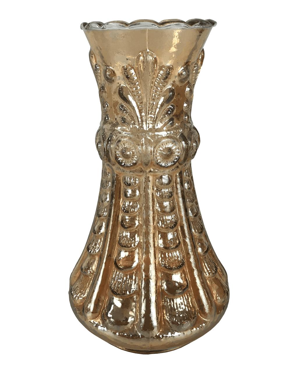Antigo Vaso Vidrao Fogo Carnival Glass