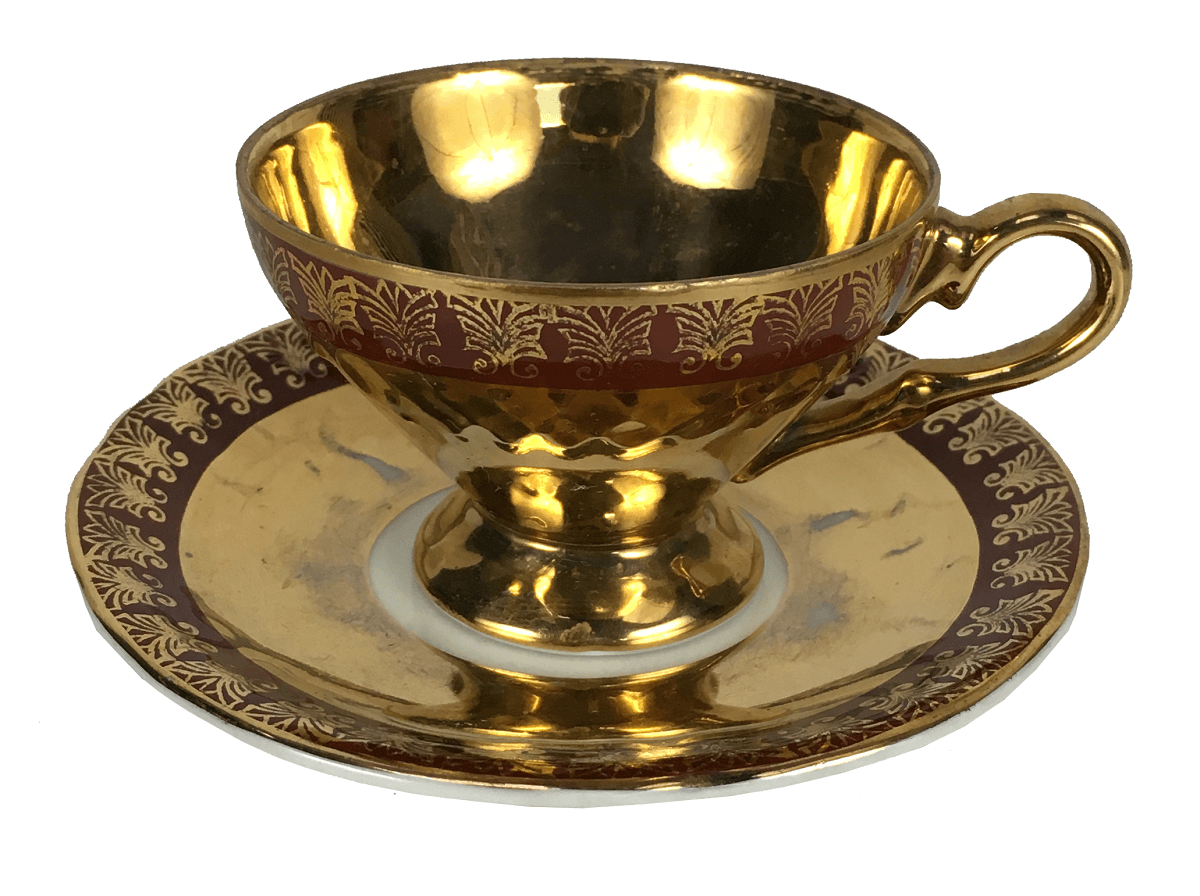 Antigo Xicara De Cafe Porcelana Ouro Cena Galante