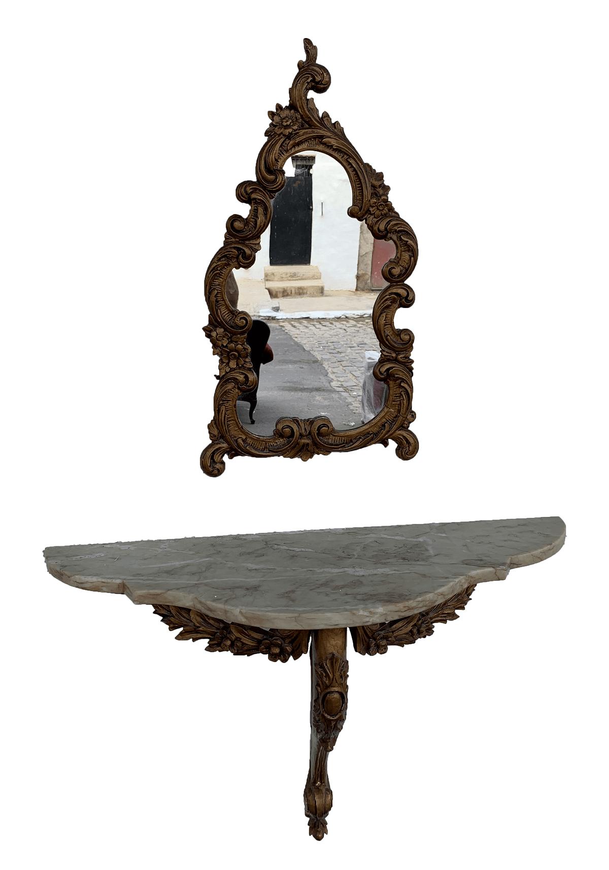 Aparador Antigo De Parede Dourado Com Espelho