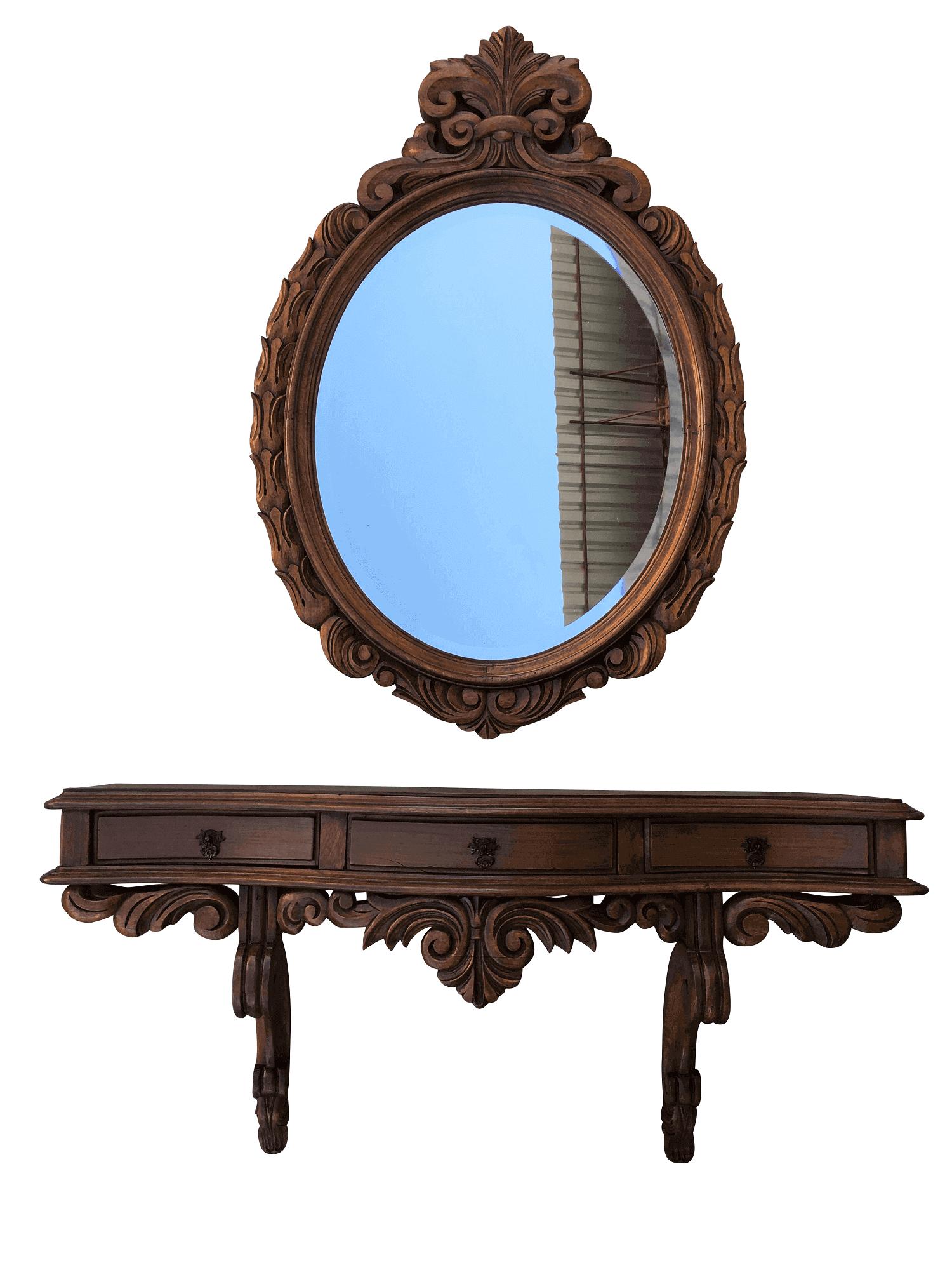 Aparador De Parede Antigo Com Espelho Cerejeira Madeira Entalhada