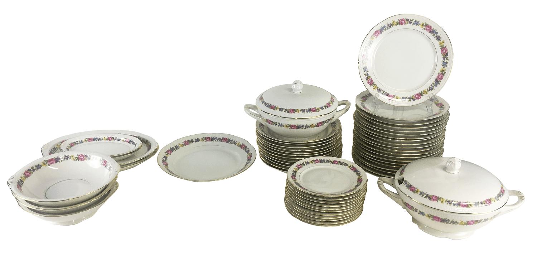 Aparelho De Jantar Porcelana Antiga Polones Florido Filetado A Ouro