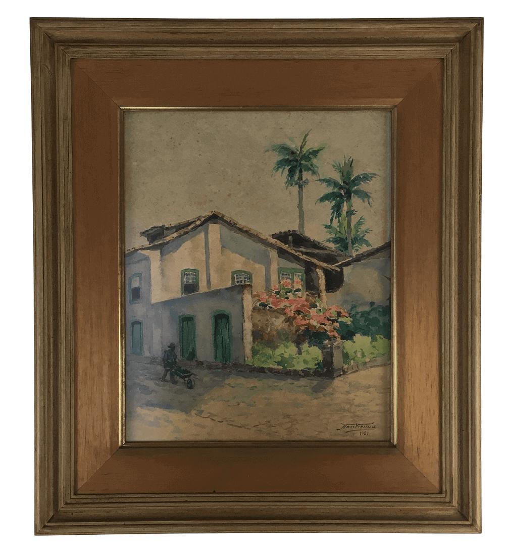 Armando Vianna Quadro Antigo Pintura Papel Assinado
