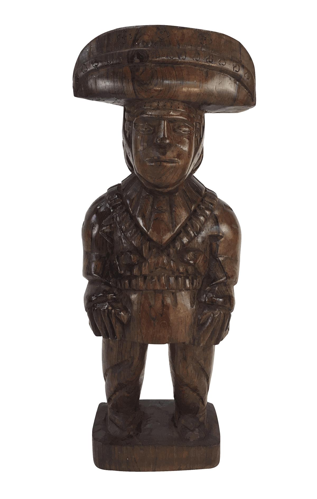 Arte Popular Escultura Antiga Em Jacaranda Maciço Cangaceiro