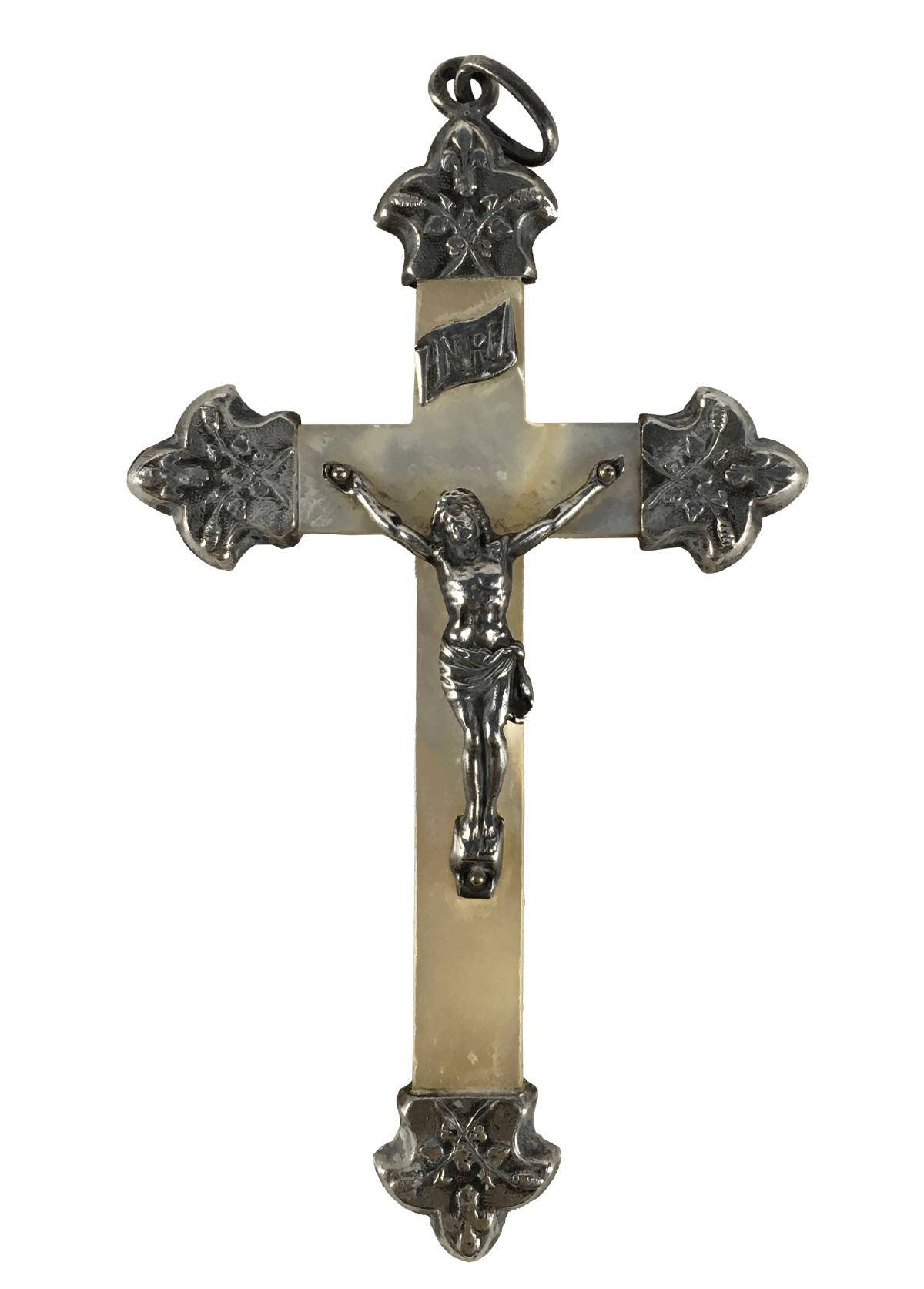 Arte Sacra Antigo Pingente Crucifixo Prata De Lei E Madreperola